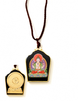 Painted Chenrezig with Gold Plated Mantra
