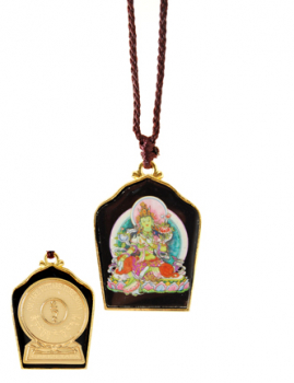 Painted Green Tara with Gold Plated Mantra