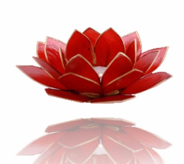 Lotus candlelightholder chakra 1 red goldlining