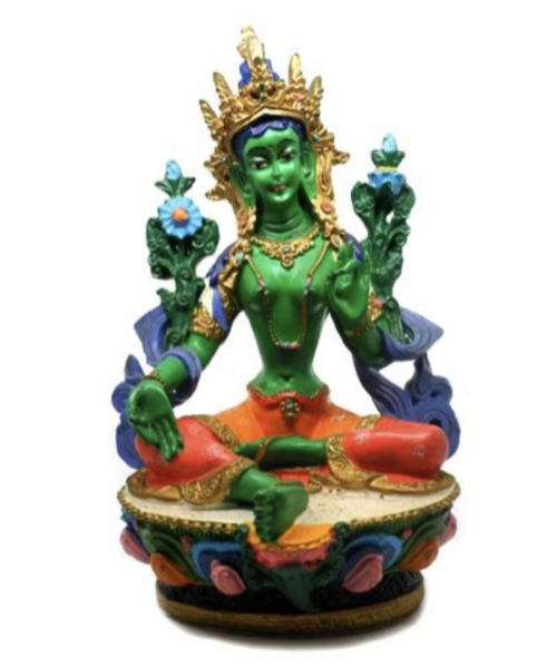 Green tara hand painted